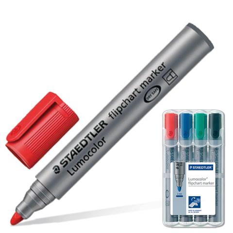 Маркеры для флипчарта STAEDTLER (Германия), набор 4 шт., 2 мм, непропитывающие (черный, синий, красный, зеленый)