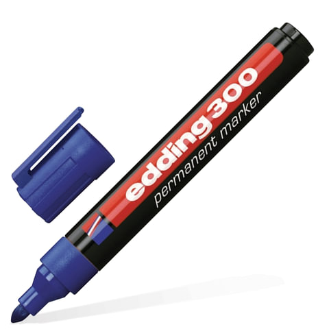 Маркер перманентный (нестираемый) EDDING, 1,5-3 мм, круглый наконечник, синий