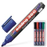 Маркеры для доски EDDING, набор 4 шт., круглый наконечник 1,5-3 мм (черный, красный, синий, зеленый)