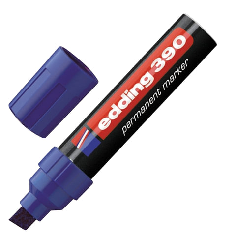Маркер перманентный (нестираемый) EDDING, скошенный наконечник, 4-12 мм, синий