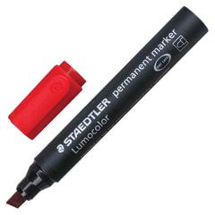 Маркер перманентный (нестираемый) STAEDTLER (Германия) «Lumocolor», скошенный, 2-5 мм, красный