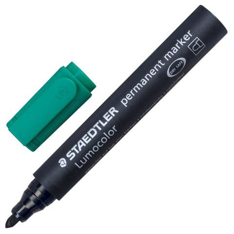 """Маркер перманентный (нестираемый) STAEDTLER (Германия) """"Lumocolor"""", круглый, 2 мм, зеленый"""