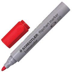Маркер для флипчарта STAEDTLER (Германия) «Lumocolor», непропитывающий, круглый, 2 мм, красный