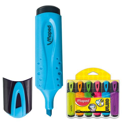 Текстмаркеры MAPED (Франция), набор 6 шт., «Fluo Pep's Classic», 1-5 мм (желтый, оранжевый, розовый, зеленый, голубой, фиолетовый)