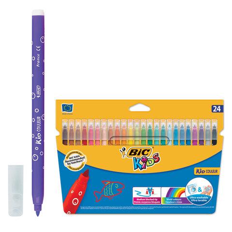 Фломастеры BIC «Kid Couleur» (Франция), 24 цв., суперсмываемые, вентилируемый колпачок, картонная упаковка, европодвес