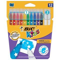 Фломастеры Пиши и стирай BIC, 12 штук, 10 цветов + 2 стирающих, суперсмываемые, вентилируемый колпачок