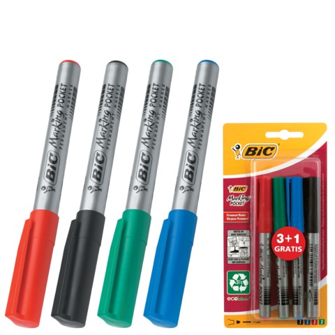 """Маркеры перманентные (нестираемые) BIC (Франция), набор 4 шт., """"Marking Pocket"""", 1,1 мм (черный, синий, красный, зеленый)"""
