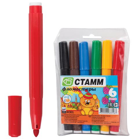 Фломастеры утолщенные СТАММ «Карапуз», 6 цветов, пластиковая упаковка, европодвес