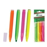 Текстмаркеры СТАММ, набор 4 шт., «Office», скошенный наконечник 1-5 мм (зеленый, желтый, оранжевый, красный)