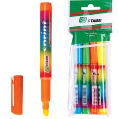 Текстмаркеры СТАММ, набор 4 шт., «Sprint», скошенный наконечник 1-5 мм (синий, зеленый, желтый, оранжевый)