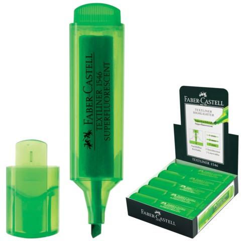 Текстмаркер FABER-CASTELL (Германия) «1546», скошенный наконечник 1-5 мм, флуоресцентный зеленый
