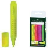 Текстмаркеры FABER-CASTELL «GRIP 1543», набо 4 шт., скошенный наконечник 1-5мм, (желтый, розовый, зеленый, оранжевый)