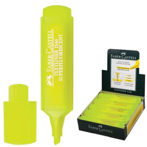 Текстмаркер FABER-CASTELL (Германия) «1546», скошенный наконечник 1-5мм, флуоресцентный желтый