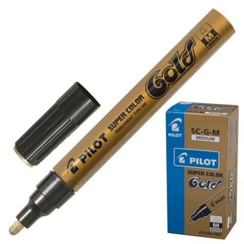 Маркер-краска лаковый PILOT, 2 мм, круглый наконечник, алюминиевый корпус, золотой