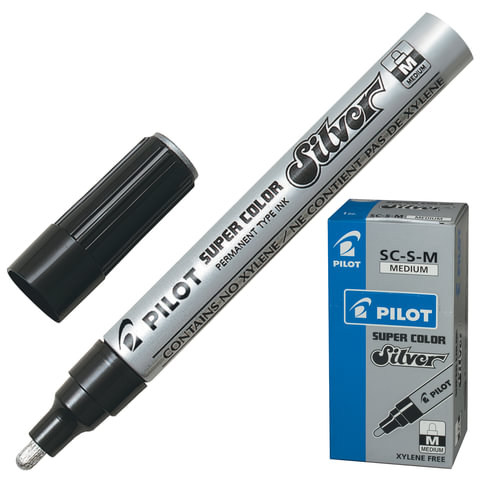Маркер лаковый PILOT SC-S-M, 2 мм, круглый наконечник, алюминиевый корпус, серебряный