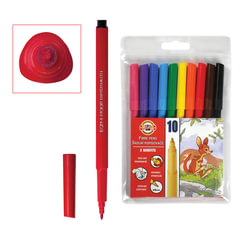 Фломастеры KOH-I-NOOR, 10 цветов, смываемые, трехгранные, пластиковая упаковка, европодвес