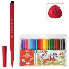Фломастеры KOH-I-NOOR, 24 цвета, смываемые, трехгранные, пластиковая упаковка, европодвес