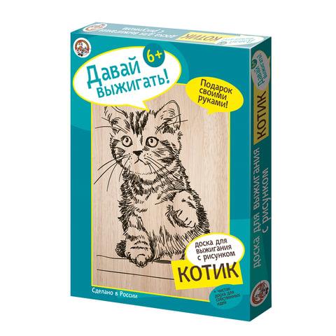 Набор для выжигания «Котик», 1 панно с рисунком + 1 чистое панно, 17×23 см, «Десятое королевство»
