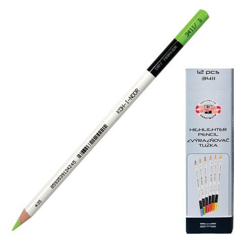 Текстмаркер-карандаш сухой KOH-I-NOOR, зеленый, картонная коробка