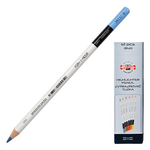 Текстмаркер-карандаш KOH-I-NOOR, сухой, голубой
