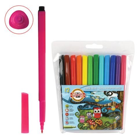 """Фломастеры KOH-I-NOOR """"Совы"""", 12 цветов, смываемые, трехгранные, пластиковая упаковка, европодвес"""