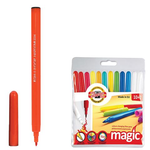 """Фломастеры KOH-I-NOOR """"MAGIC"""", 12 штук, 10 цветов+2 стирающих, смываемые, пластиковая упаковка, европодвес"""