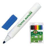 Маркеры для ткани KOH-I-NOOR, набор 6 шт., круглый наконечник, 2,5 мм, черный, коричневый, красный, желтый, зеленый, синий