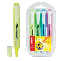 Текстмаркеры STABILO, набор 4 шт., «Swing cool», 1-4 мм (желтый, зеленый, розовый, синий)