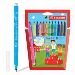 Фломастеры STABILO «Trio», 12 цветов, трехгранная зона обхвата, толщина линии 0,7 мм, картонный футляр