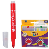 Фломастеры BIC «Рисуй и Твори», 12 штук, 6 цветов+6 цветов для особых эффектов, укороченные, картонная упаковка