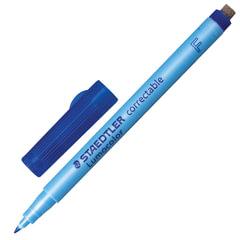 Маркер универсальный для любой гладкой поверхности со стирателем, STAEDTLER (Штедлер, Германия), 0,6 мм, синий