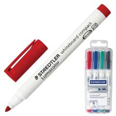 Маркеры для доски STAEDTLER (Германия) «Lumocolor», набор 4 штуки, круглые, 1-2 мм, (черный, синий, красный, зеленый)