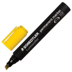 Маркер перманентный (нестираемый) STAEDTLER (Германия) «Lumocolor», скошенный, 2-5 мм, желтый