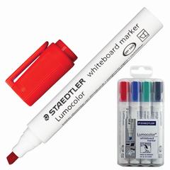 Маркеры для доски STAEDTLER (Германия) «Lumocolor», набор 4 штуки, скошенные, 2-5 мм (черный, синий, красный, зеленый)