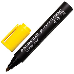 Маркер перманентный (нестираемый) STAEDTLER (Германия) «Lumocolor», круглый, 2 мм, желтый