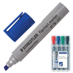 Маркеры для флипчарта STAEDTLER (Германия) «Lumocolor», набор 4 штуки, непропитывающие, скошенные, 2-5 мм