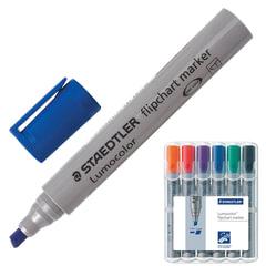 Маркеры для флипчарта STAEDTLER (Германия) «Lumocolor», набор 6 штук, непропитывающие, скошенные, 2-5 мм