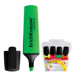 Текстмаркеры ERICH KRAUSE, набор 4 штуки, «Visioline V-12», скошенные, 0,6-5,2 мм, (желтый, розовый, оранжевый, зеленый)