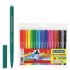 Фломастеры CENTROPEN «Color World», 18 цветов, эргономичная форма, смываемые, вентилируемый колпачок