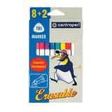 Фломастеры CENTROPEN «ERASABLE», 8+2 цветов, ширина линии 1,8 мм, стираемые