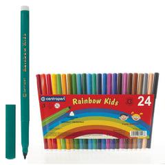Фломастеры CENTROPEN «Rainbow Kids», 24 цвета, смываемые, эргономичные, вентилируемый колпачок