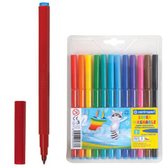 Фломастеры CENTROPEN, суперсмываемые, 12 цветов, вентилируемый колпачок, пластиковая упаковка, европодвес