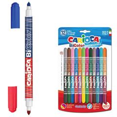 Фломастеры двухсторонние CARIOCA (Италия) «Bi-color», 12 штук, 24 цвета, суперсмываемые, вентилируемый колпачок