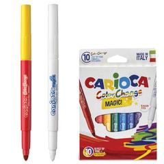 Фломастеры CARIOCA «Color Change», 10 штук, 9 цветов + 1 изменяющий цвет, утолщенный наконечник, смываемые