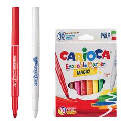 Фломастеры CARIOCA «Erasable», 10 штук, 9 цветов + 1 стирающий, утолщенный наконечник, смываемые