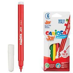 Фломастеры CARIOCA (Италия) «Joy», 6 цветов, суперсмываемые, вентилируемый колпачок, картонный конверт