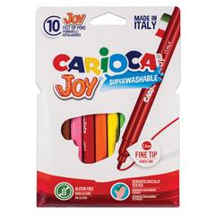 Фломастеры CARIOCA (Италия) «Joy», 10 цветов, суперсмываемые, вентилируемый колпачок, картонный конверт