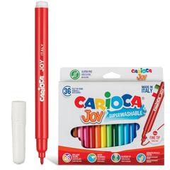 Фломастеры CARIOCA (Италия) «Joy», 36 цветов, суперсмываемые, вентилируемый колпачок, картонный конверт