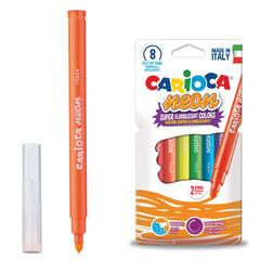 Фломастеры CARIOCA (Италия) «Neon», 8 цветов, флуоресцентные, суперсмываемые, картонный конверт