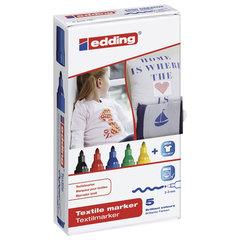 Маркеры для ткани EDDING, набор 5 шт., круглый наконечник 2-3 мм, черный, красный, синий, зеленый, желтый